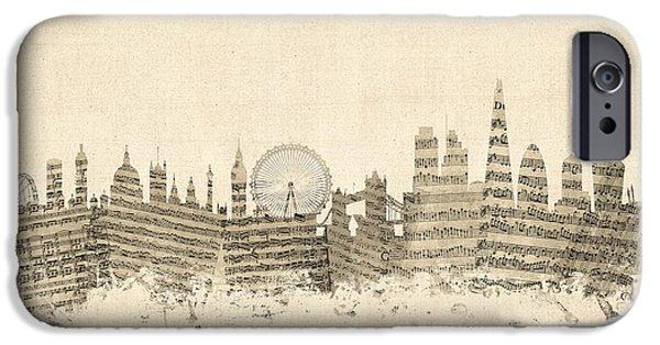 London England Skyline Sheet Music Cityscape IPhone 6s Case by Michael Tompsett