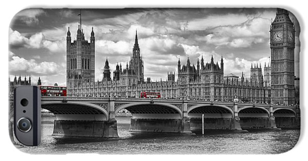 Big Ben iPhone 6s Case - London - Houses Of Parliament And Red Buses by Melanie Viola