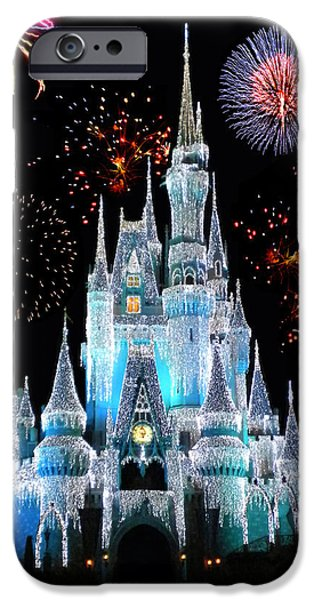 Castle iPhone 6s Case - Magic Kingdom Castle In Frosty Light Blue With Fireworks 06 by Thomas Woolworth