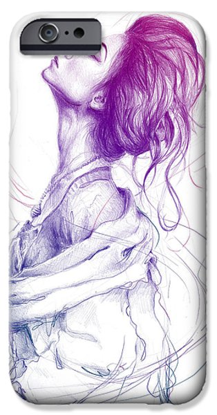 Pencil iPhone 6s Case - Purple Fashion Illustration by Olga Shvartsur