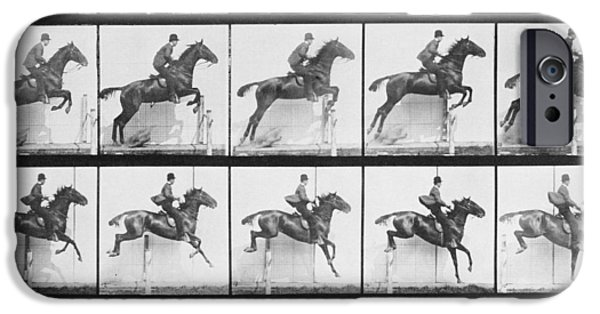 Man And Horse Jumping A Fence IPhone Case by Eadweard Muybridge