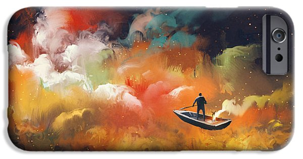 Space iPhone 6s Case - Man On A Boat In The Outer Space With by Tithi Luadthong
