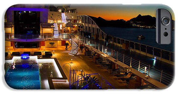 Cruise Ship iPhone 6s Case - Marina Cruise Ship Pool Deck At Dusk by David Smith