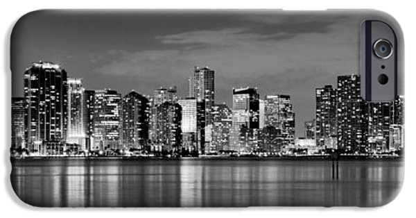 Miami iPhone 6s Case - Miami Skyline At Dusk Black And White Bw Panorama by Jon Holiday