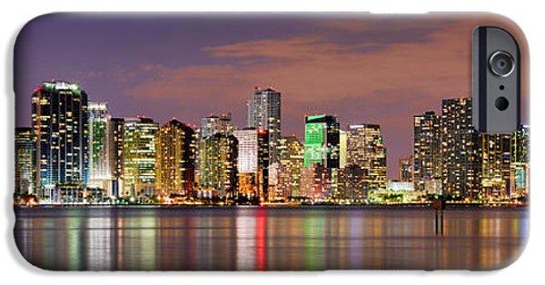 Miami iPhone 6s Case - Miami Skyline At Dusk Sunset Panorama by Jon Holiday