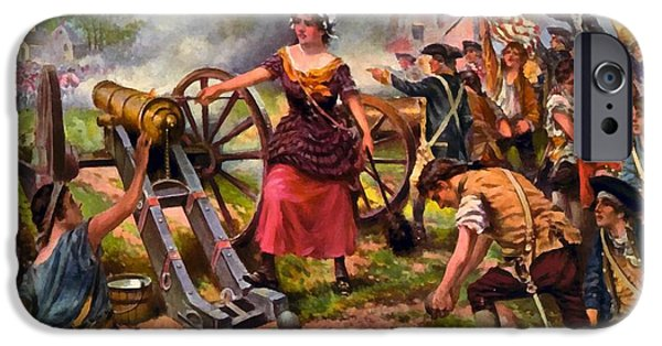 Molly Pitcher Firing Cannon At Battle Of Monmouth IPhone Case by Percy Moran