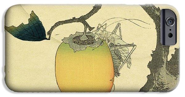 Grasshopper iPhone 6s Case - Moon Persimmon And Grasshopper by Katsushika Hokusai