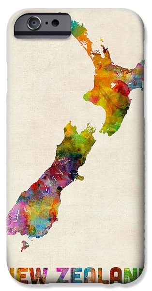 Kiwi iPhone 6s Case - New Zealand Watercolor Map by Michael Tompsett