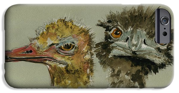 Ostrich iPhone 6s Case - Ostrichs Head Study by Juan  Bosco