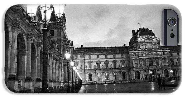 Paris Louvre Museum Lanterns Lamps - Paris Black And White Louvre Museum Architecture IPhone 6s Case by Kathy Fornal