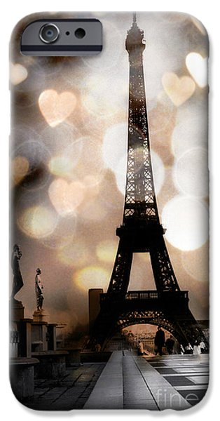 Paris Surreal Fantasy Sepia Black Eiffel Tower Bokeh Hearts And Circles - Paris Eiffel Tower Hearts  IPhone 6s Case