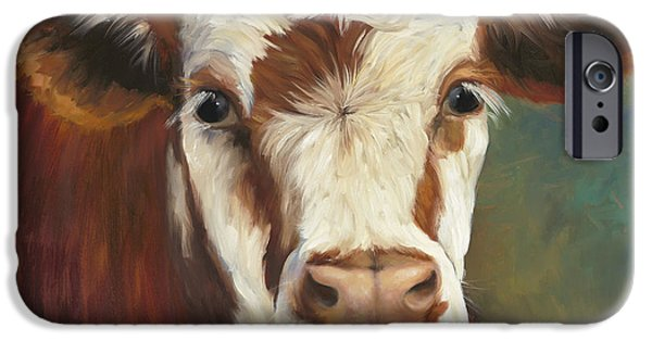 Cow iPhone 6s Case - Pearl Iv Cow Painting by Cheri Wollenberg
