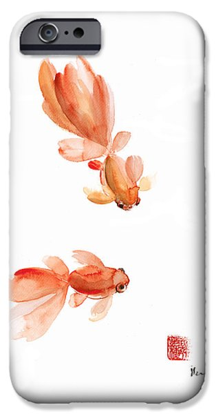 Pisces Zodiac Fishes Orange Red  Pink Fish Water Goldfish Watercolor Painting IPhone 6s Case by Johana Szmerdt