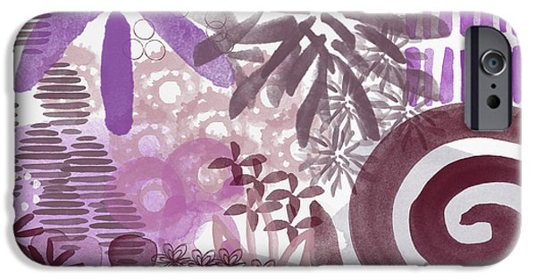 Plum And Grey Garden- Abstract Flower Painting IPhone 6s Case by Linda Woods