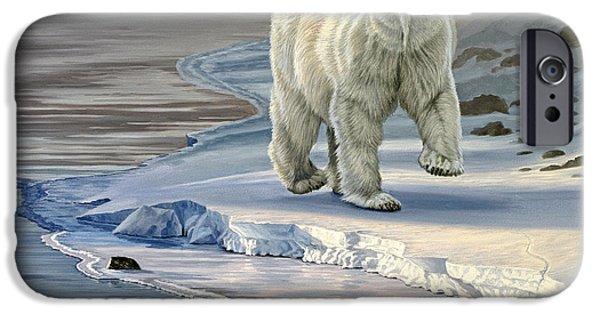 Polar Bear iPhone 6s Case - Polar Bear On Icy Shore    by Paul Krapf