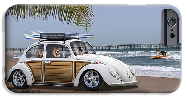 Beetle iPhone 6s Case - Postcards From Otis - Beach Corgis by Mike McGlothlen