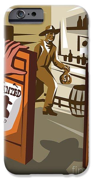 Drum iPhone 6s Case - Poster Illustration Of An Outlaw Cowboy by Patrimonio Designs Ltd