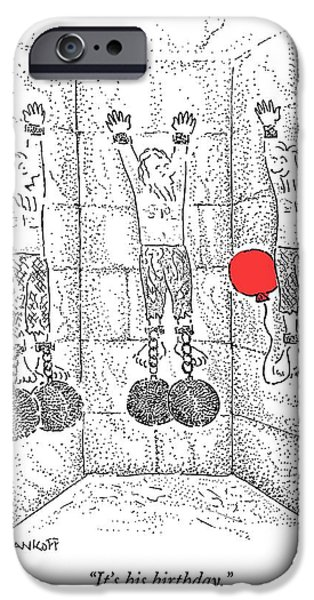 Dungeon iPhone 6s Case - Prisoner In Dungeon Has Orange Balloons Attached by Robert Mankoff