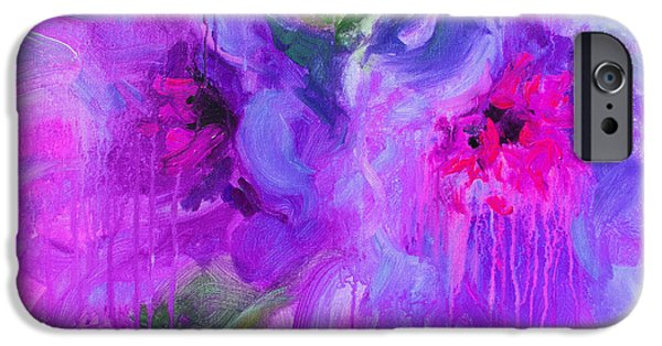 Purple Abstract Peonies Flowers Painting IPhone Case by Svetlana Novikova