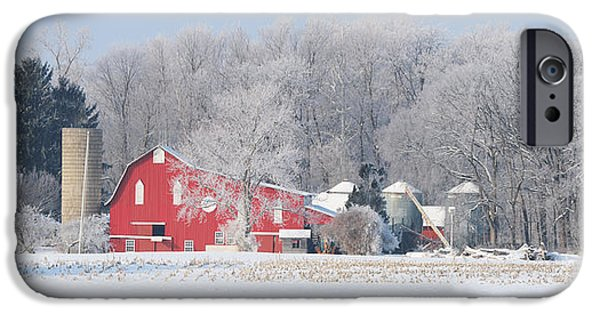 Whitehouse iPhone 6s Case - Red Barn Frosty Morning Panorama1 by Jack Schultz