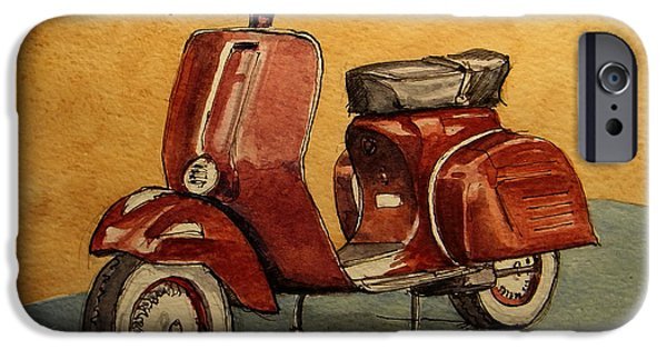 Motorcycle iPhone 6s Case - Red Vespa by Juan  Bosco