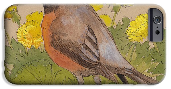 Robin In The Dandelions IPhone 6s Case by Tracie Thompson