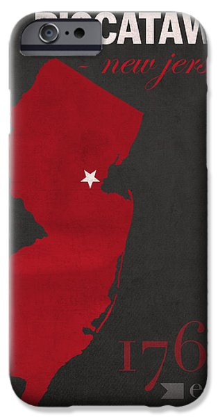 Scarlet iPhone 6s Case - Rutgers University Scarlet Knights Piscataway Nj College Town State Map Poster Series No 092 by Design Turnpike