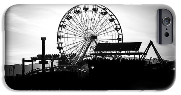 Santa Monica Ferris Wheel Black And White Photo IPhone 6s Case by Paul Velgos
