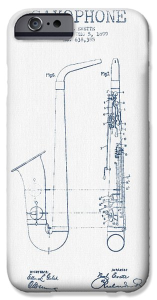 Saxophone Patent Drawing From 1899 - Blue Ink IPhone 6s Case by Aged Pixel