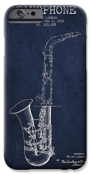 Saxophone Patent Drawing From 1937 - Blue IPhone 6s Case by Aged Pixel
