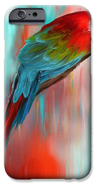 Scarlet- Red And Turquoise Art IPhone 6s Case by Lourry Legarde
