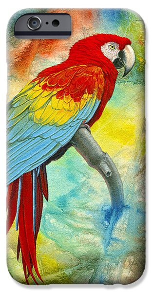 Scarlet Macaw In Abstract IPhone 6s Case by Paul Krapf