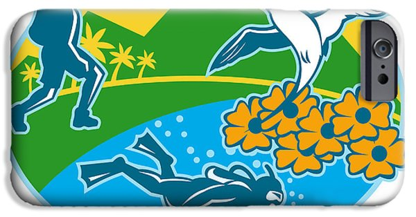Scuba Diving iPhone 6s Case - Scuba Diver Hiker Island Tropicbird Flowers Retro by Aloysius Patrimonio