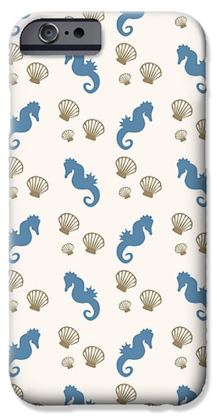 Seahorse And Shells Pattern IPhone 6s Case by Christina Rollo