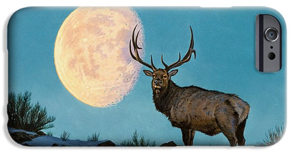 Bull iPhone 6s Case - Setting Moon And Elk by Paul Krapf