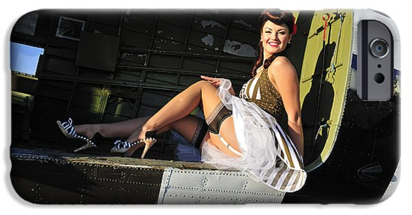 Sexy 1940s Style Pin-up Girl Sitting IPhone Case by Christian Kieffer