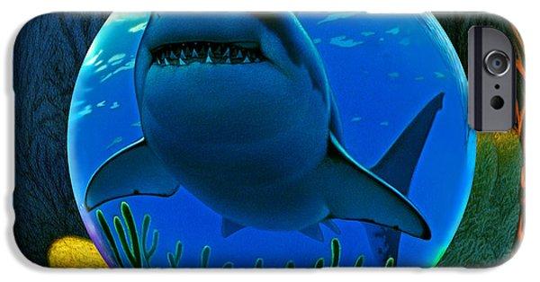 Sharks iPhone 6s Case - Shark World  by Robin Moline