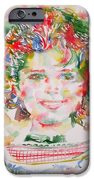 Shirley Temple iPhone 6s Case - Shirley Temple - Watercolor Portrait.1 by Fabrizio Cassetta