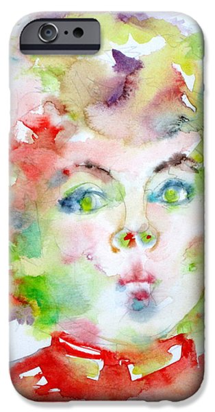Shirley Temple iPhone 6s Case - Shirley Temple - Watercolor Portrait.2 by Fabrizio Cassetta
