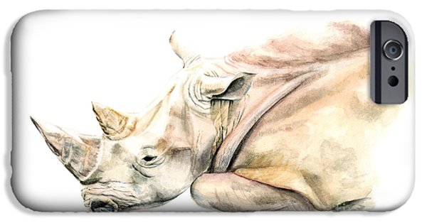 Small Colour Rhino IPhone 6s Case by Elizabeth Lock