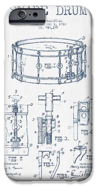 Folk Art iPhone 6s Case - Snare Drum Patent Drawing From 1910  - Blue Ink by Aged Pixel