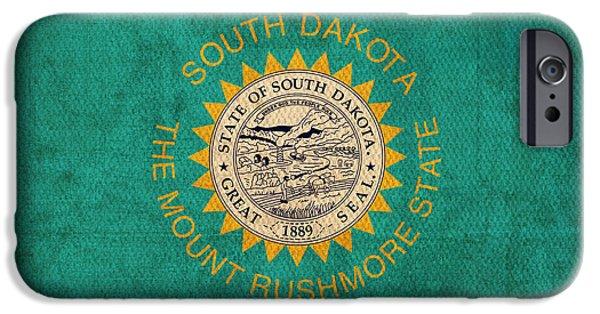 South Dakota State Flag Art On Worn Canvas IPhone 6s Case