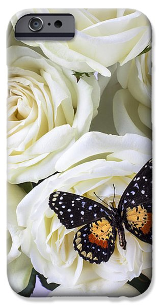 Rose iPhone 6s Case - Speckled Butterfly On White Rose by Garry Gay