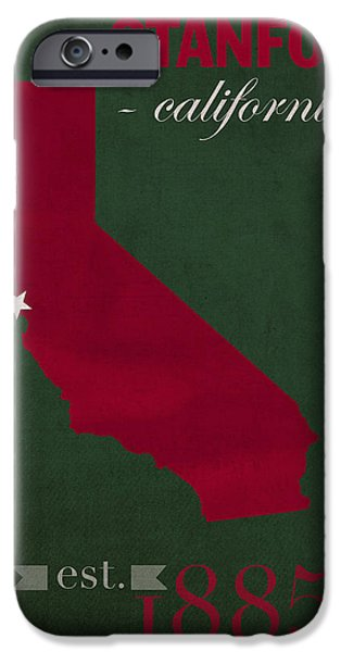 Stanford University Cardinal Stanford California College Town State Map Poster Series No 100 IPhone 6s Case