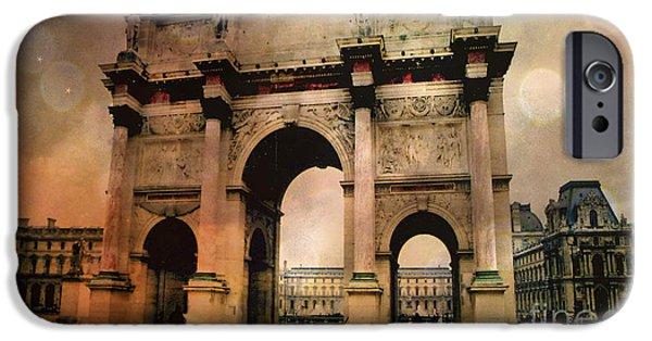 Louvre Museum Arc De Triomphe Louvre Arch Courtyard Sepia- Louvre Museum Arc Monument IPhone 6s Case