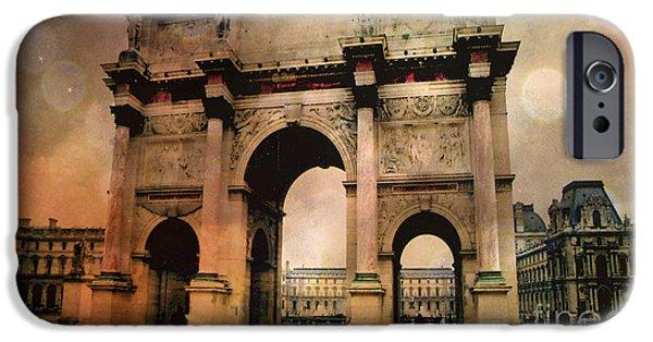 Louvre Museum Arc De Triomphe Louvre Arch Courtyard Sepia- Louvre Museum Arc Monument IPhone 6s Case by Kathy Fornal