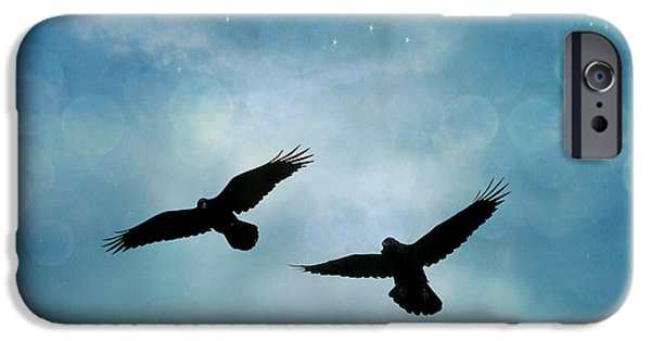 Surreal Ravens Crows Flying Blue Sky Stars IPhone 6s Case by Kathy Fornal
