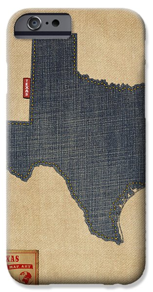 Texas Map Denim Jeans Style IPhone 6s Case by Michael Tompsett