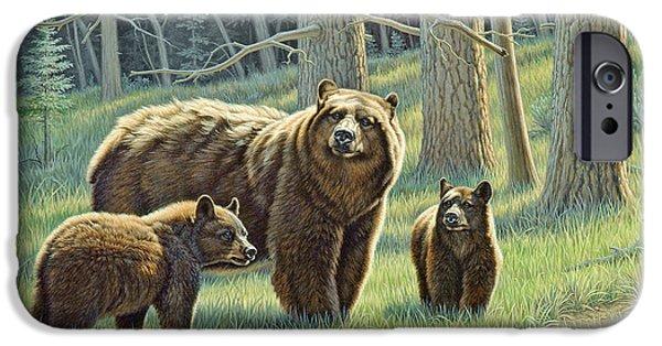 Bear iPhone 6s Case - The Family - Black Bears by Paul Krapf
