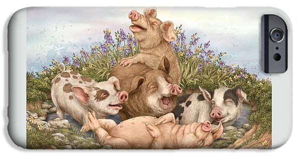 Pig iPhone 6s Case - Think Happy by Beverly Levi-Parker